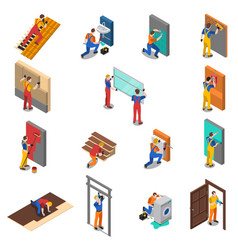 Home repair worker people icon set vector