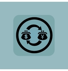 Pale blue dollar-yen exchange sign vector
