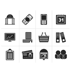Silhouette Business and finance icons vector image