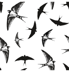 Flying birds black and white pattern vector