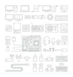 Computer hardware line icons set vector image
