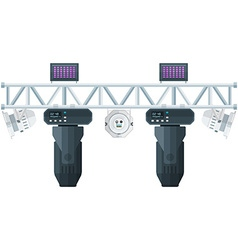Flat style stage metal truss concert lighting vector