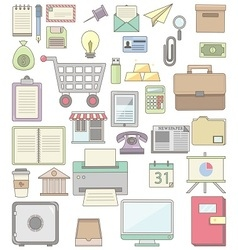 Cute business icon collections vector