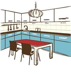 Modern kitchen room color sketchy on white vector