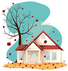 Autumn suburban house vector