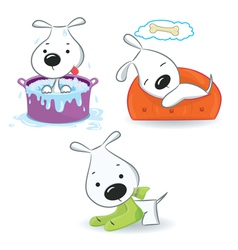 A set of puppies vector image