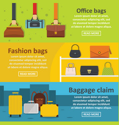 Bag baggage banner horizontal set flat style vector
