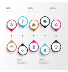 battle outline icons set collection of aircraft vector image vector image