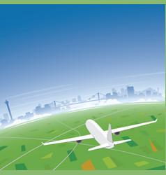Busan skyline flight destination vector