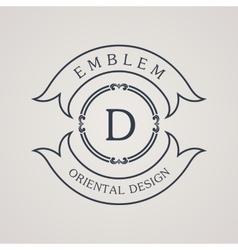 Calligraphic round emblem Vintage symbol vector image