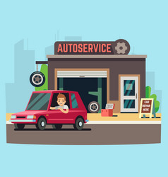 car service station or repair garage with happy vector image