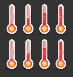 Celsius and fahrenheit thermometers icon with vector