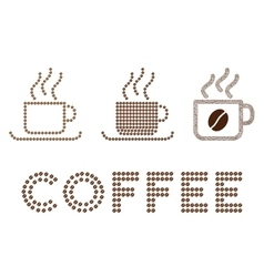 Coffee cups composition with coffee beans vector
