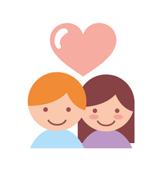 Cute couple lovers with heart vector