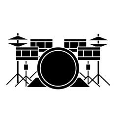 drums - drum set icon black vector image vector image