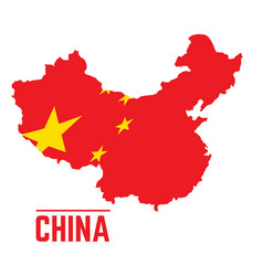 flag and map of china vector image vector image
