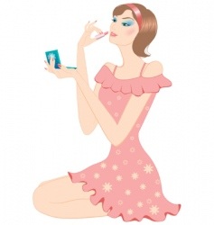 girl and make-up vector image