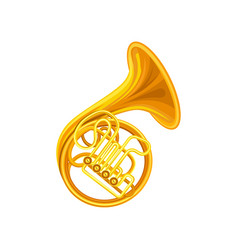 Golden french horn brass musical instrument with vector