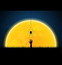halloween spider moon graveyard zombie hand vector image vector image