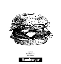 Hamburger Vintage fast food hand drawn sketch vector image vector image