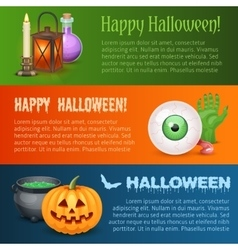 Happy halloween three horizontal banners vector