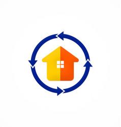 house realty protection arrow logo vector image