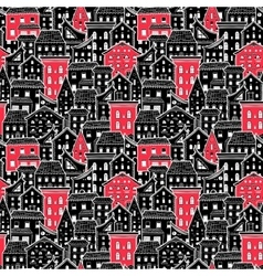 Houses pattern big black and red vector