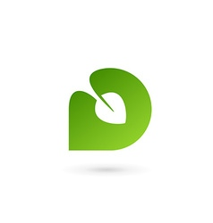 Letter D eco leaves logo icon design template vector image