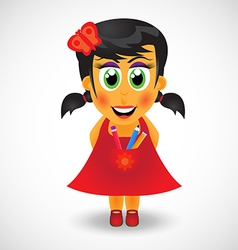 Little girl in red dress with pencils vector image