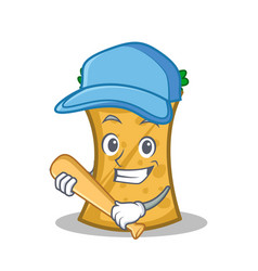 Playing baseball kebab wrap character cartoon vector