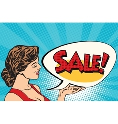 Pop art girl and sales vector