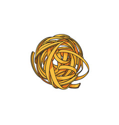 raw uncooked coiled nest shaped italian pasta vector image vector image