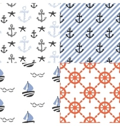 Seamless pattern set with nautical sailor vector image vector image