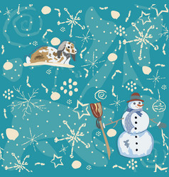 Seamless winter pattern with doodles bunny and vector