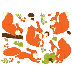 set of cute cartoon squirrels vector image vector image