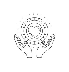 Silhouette hands with floating coin with heart vector