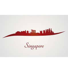 Singapore skyline in red and gray background vector