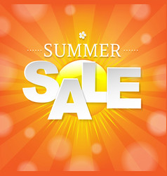 summer sale banner with sun vector image vector image