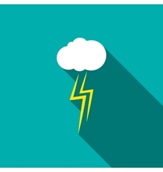 Thunderstorm cloud icon flat style vector