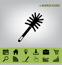 Toilet brush doodle black icon at gray vector
