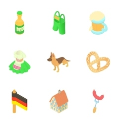 Tourism in Germany icons set cartoon style vector image vector image