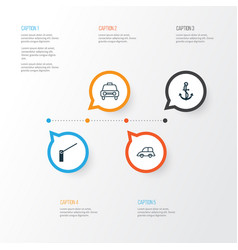 Transportation icons set collection of roadblock vector