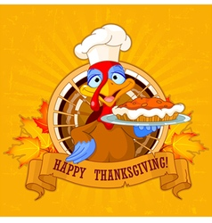 Turkey Holds Pie vector image vector image