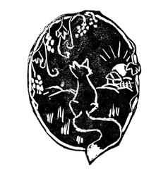 Vintage fox print vector