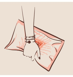 woman hand holding a stylish bag vector image
