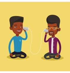 Young friends talking through tin phone vector