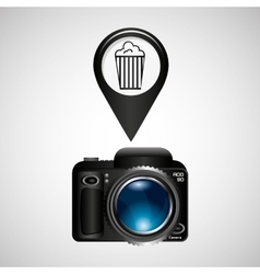 Digital photo camera pop corn pin vector