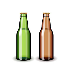 Two empty glass beer bottles isolated on white vector