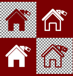 Home silhouette with tag bordo and white vector