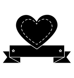 heart love card with ribbon vector image